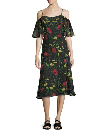 Jason Wu GREY Off-Shoulder Floral-Print Chiffon Dress