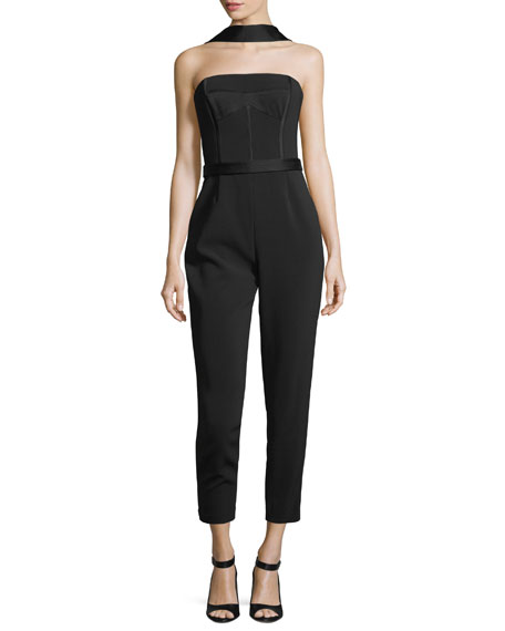 GREY BY JASON WU HEAVY CREPE BUSTIER STRAIGHT-LEG JUMPSUIT