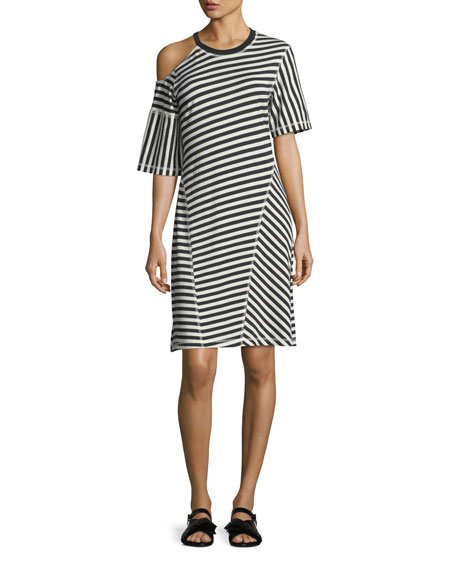 Jason Wu GREY Striped Jersey Cold-Shoulder Dress