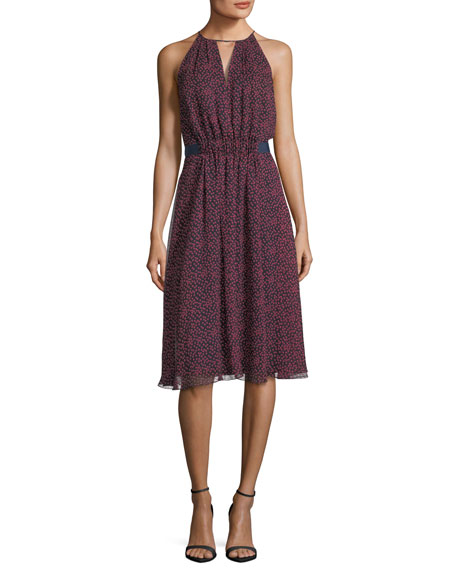 Jason Wu GREY Sleeveless Jewel-Neck Printed Silk Dress