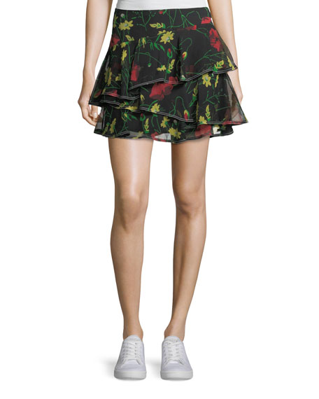 GREY BY JASON WU FLORAL-PRINT RUFFLED SILK MINISKIRT