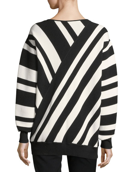 Ribbed Striped V-Neck Pullover