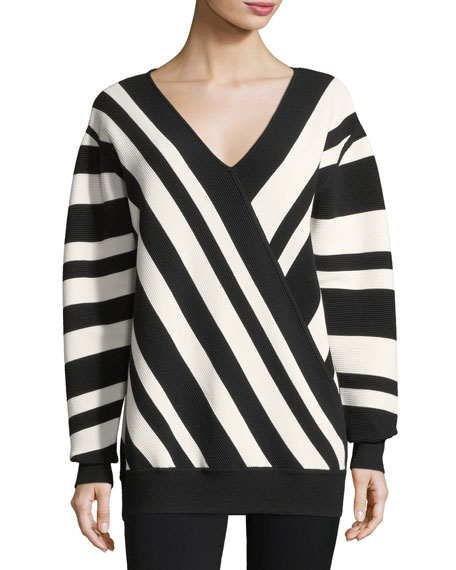 Jason Wu GREY Ribbed Striped V-Neck Pullover