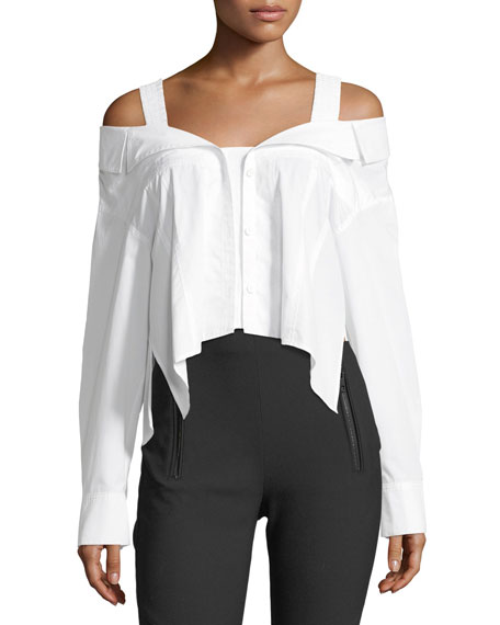 Deconstructed Off-the-Shoulder Cotton Poplin Blouse