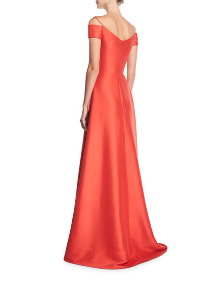 V-Neck Cold-Shoulder Stretch-Mikado Evening Gown