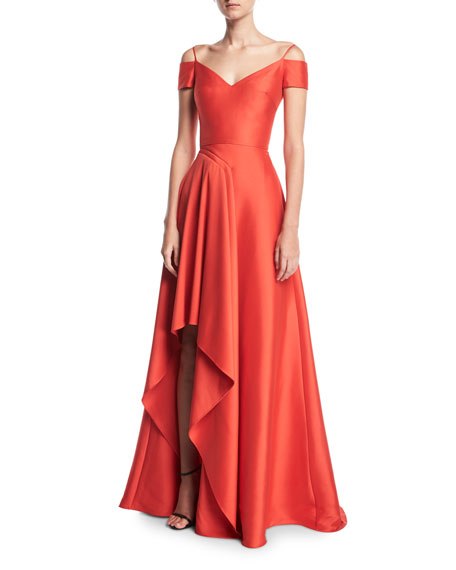 Badgley Mischka V-Neck Cold-Shoulder Stretch-Mikado Evening Gown