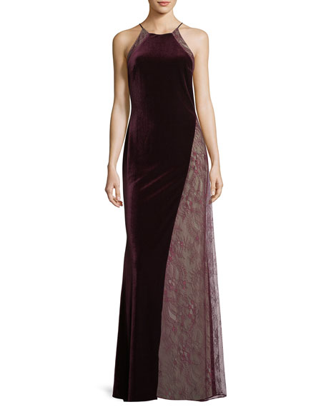 Badgley Mischka Velvet/Lace Sleeveless Halter Column Evening Gown