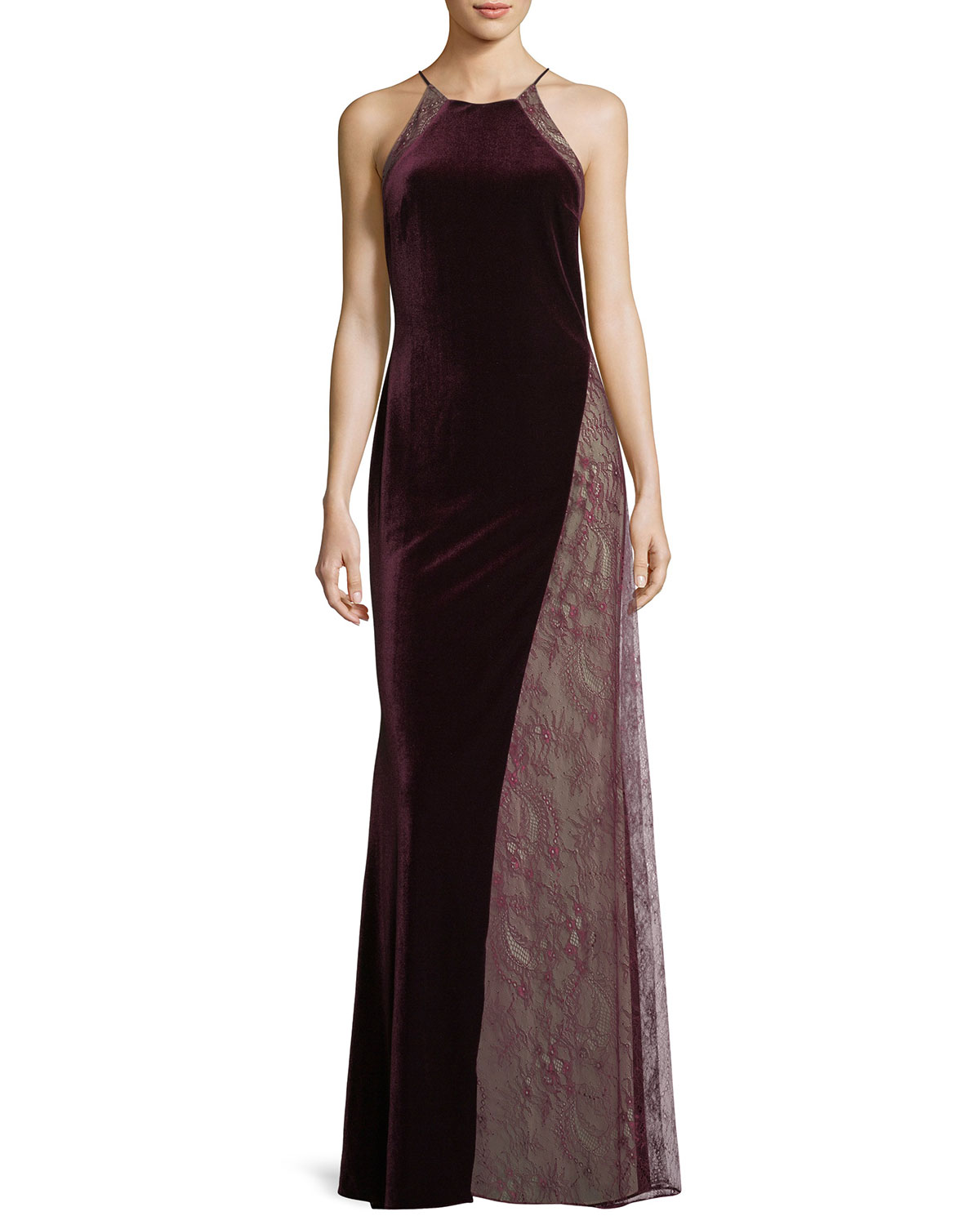 Womens evening dresses at neiman marcus badgley mischka velvetlace sleeveless halter column evening gown junglespirit Gallery