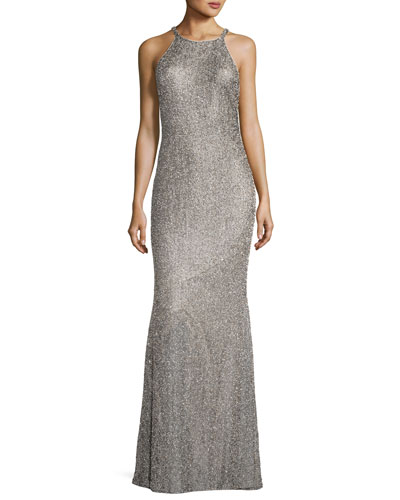 Beaded Sleeveless Halter Racerback Column Evening Gown