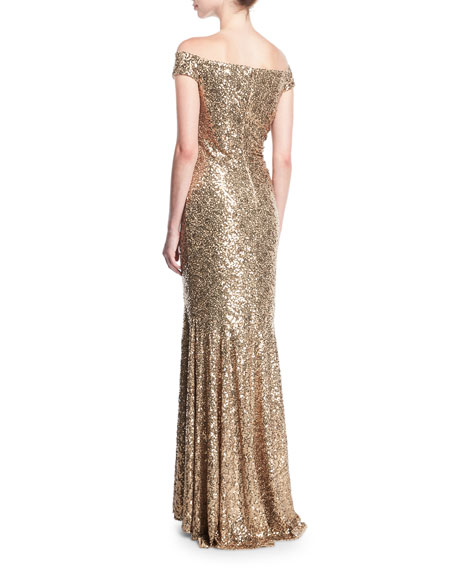 Off-the-Shoulder Sequin Column Evening Gown