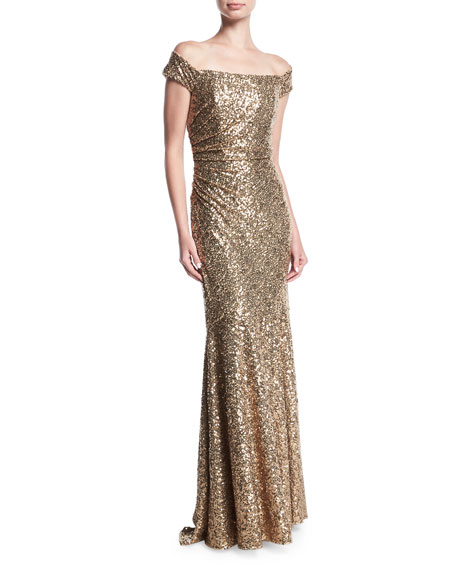 Badgley Mischka Off-the-Shoulder Sequin Column Evening Gown