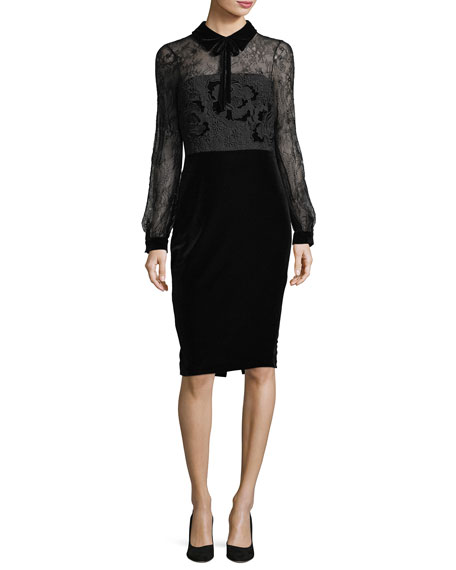 Badgley Mischka Collared Lace-Top Velvet Cocktail Dress