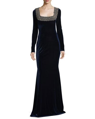 Embellished Beaded Square-Neck Stretch-Velvet Evening Gown