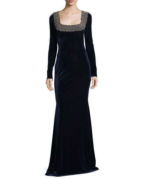 Badgley Mischka Embellished Beaded Square-Neck Stretch-Velvet