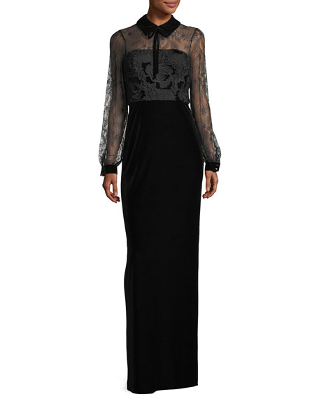 Badgley Mischka Collared Lace-Top Velvet Evening Gown