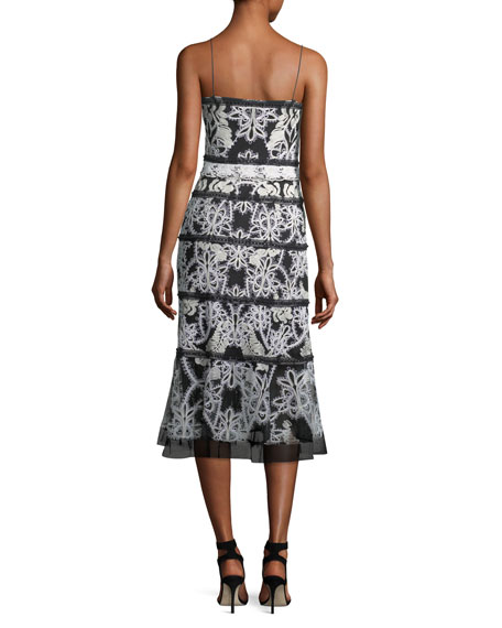 Cayden Split-Neck Sleeveless Lace Cocktail Dress