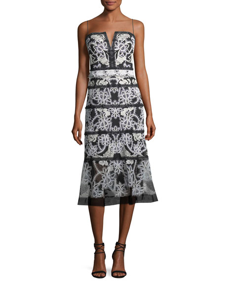 Kobi Halperin Cayden Split-Neck Sleeveless Lace Cocktail Dress
