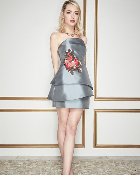 Strapless Mille-Feuille Satin Cocktail Dress w/ Flamingo Embroidery