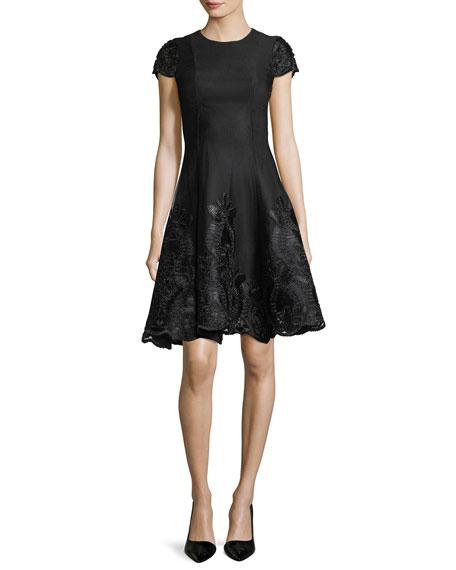 Ribbon-Trim Cap-Sleeve Fit-&-Flare Cocktail Dress