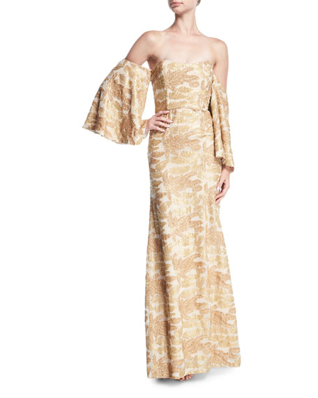Glitterati Off-the-Shoulder Beaded Trumpet Gown