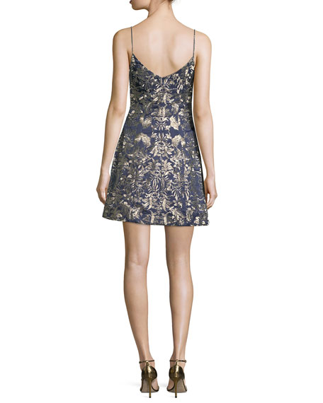 Sleeveless Embroidered Bell Cocktail Dress