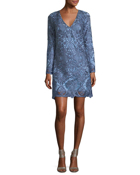 Mestiza New York Camisa Bell-Sleeve Retro Lace Cocktail