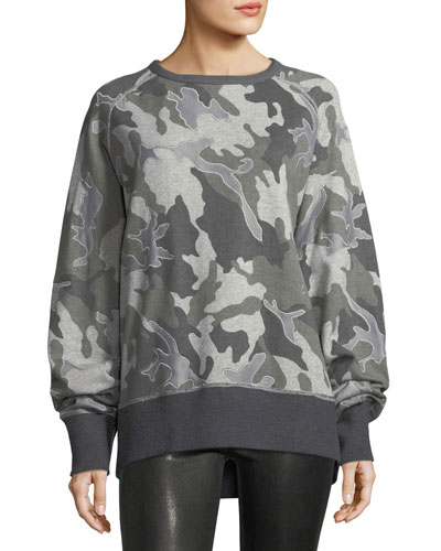 Mesh Camo Crewneck Cotton Sweatshirt