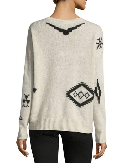 Xandra Crewneck Long-Sleeve Printed Cashmere Sweater