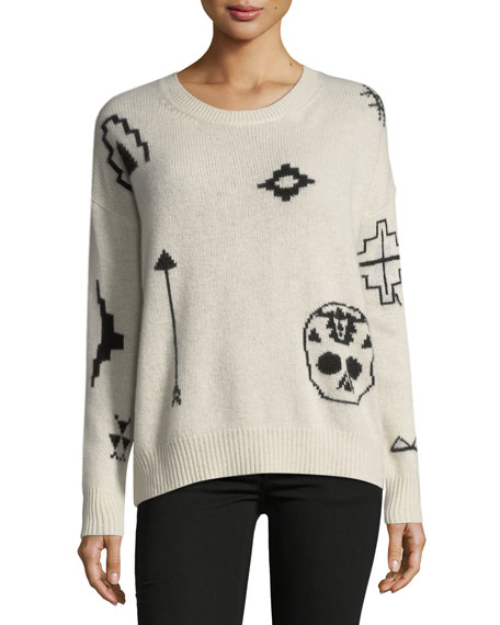 360Sweater Xandra Crewneck Long-Sleeve Printed Cashmere Sweater