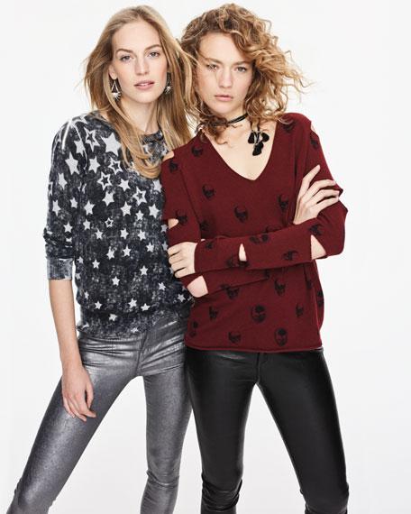 Skull-Print Cashmere Slit-Sleeve V-Neck Sweater