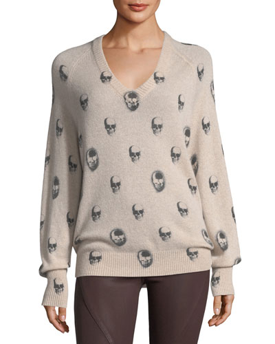 Riley V-Neck Skull-Print Cashmere Sweater