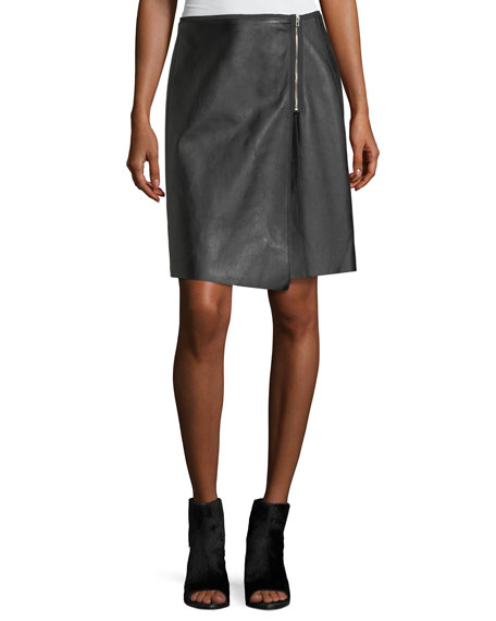 Rag & Bone Lloyd Side-Zip A-Line Leather Skirt