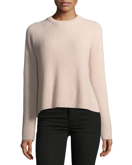 360Sweater Bianca Crewneck Ribbed Cashmere Sweater