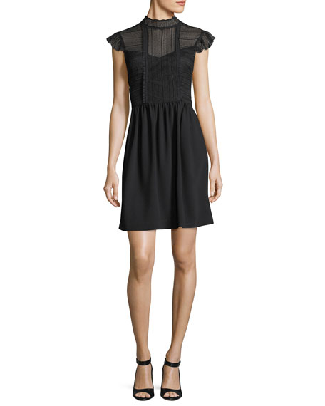 Trina Turk Aliena Lace Bodice Mock-Neck Cocktail Dress