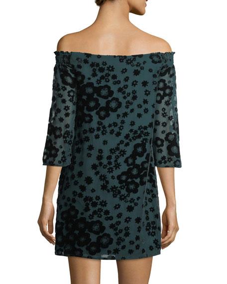 Amaris 2 3/4-Sleeve Velvet-Flower Shift Dress