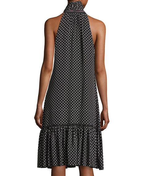 Becoming Sleeveless Tie-Neck Polka Dot Dress