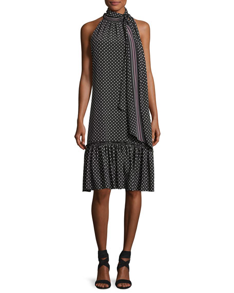 Trina Turk Becoming Sleeveless Tie-Neck Polka Dot Dress