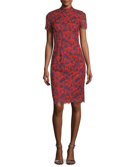 Trina Turk Flashy Short-Sleeve Floral Lace Sheath Dress