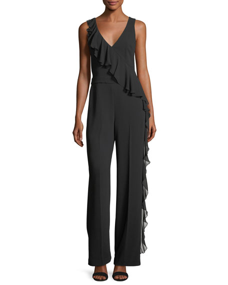 Greyson Sleeveless V-Neck Ruffled Jumpsuit