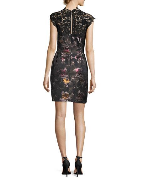 Floral-Print Sheath Cocktail Dress w/ Lace