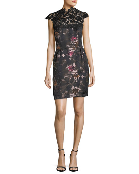 Floral-Print Sheath Cocktail Dress w/ Lace