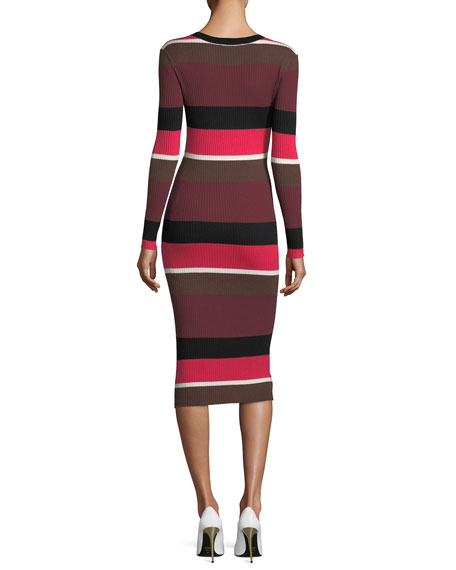 Grand Ave Striped Merino Wool Sweaterdress