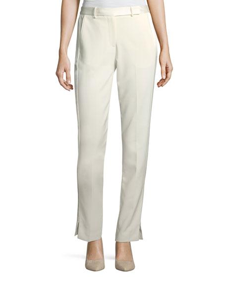 Halston Heritage Satin-Trimmed Slim Tapered Crepe Pants