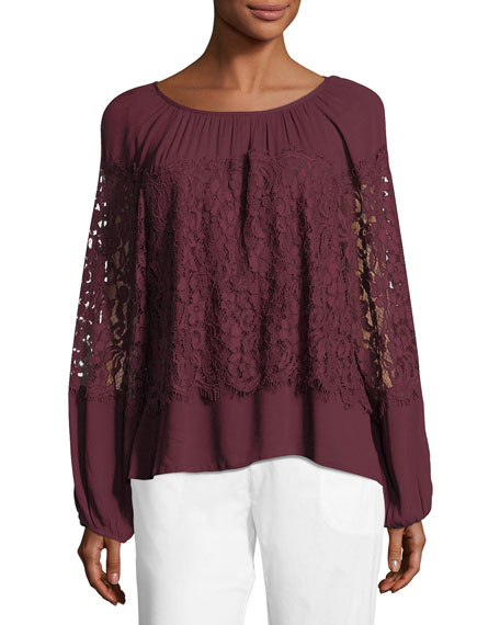 XCVI Sunneva Lace Mix Crepe Top