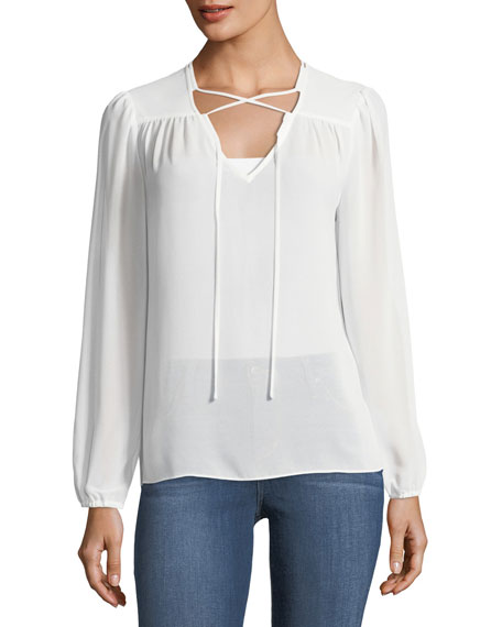 Laundry By Shelli Segal Lace-Up Chiffon Top
