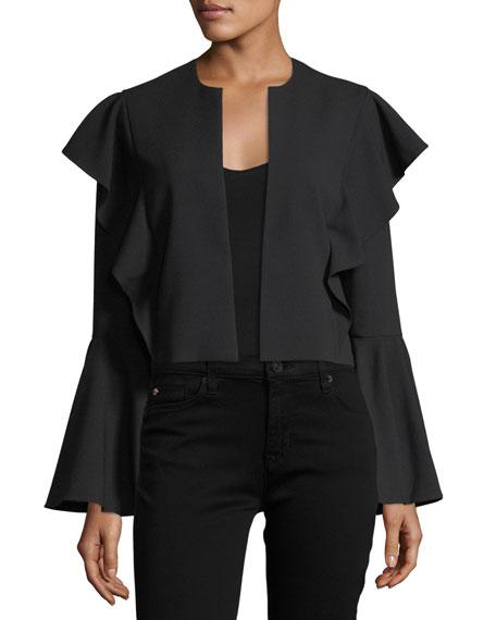 Bell-Sleeve Flutter-Trim Crop Jacket