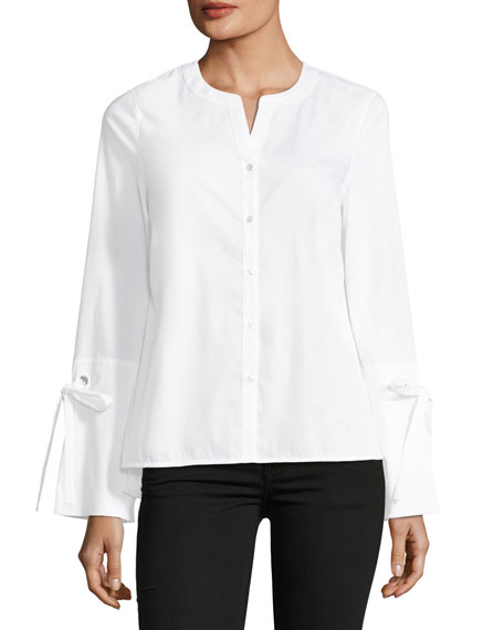 Poplin Button-Front Top