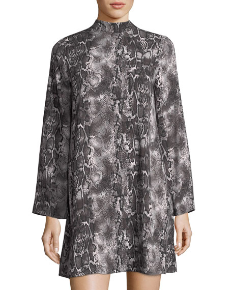 Snakeskin-Print Mock-Neck Dress