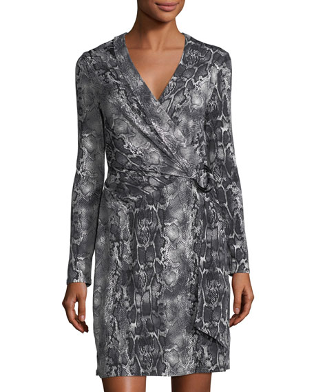 Laundry By Shelli Segal Snakeskin-Print Wrap Dress