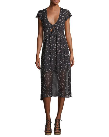 Tie-Front Floral-Print Dress